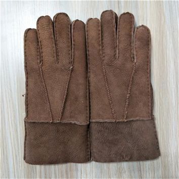 Factory Direct Sale Man's Gloves ,Winter Warm Gloves Sheepskin Leather Gloves,Fur Gloves