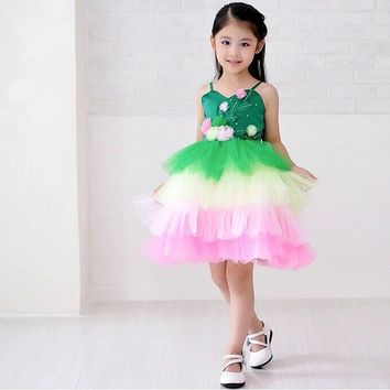 Fashion cute kids clothes cupcake pageant fairy costume baby girl dresses special occasion