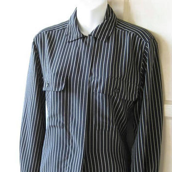 Masculine-Feminine Black Shirt w/ Thin Beige Stripes; Women's Small-Medium Military-Influence Long Sleeve Shirt; U.S. Shipping Included