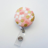 Coral and Gold, Metallic Print, Hexagon Badge Reel, Geometric ID Holder, Retractable Clip, Nurse Gift, Stocking Stuffer