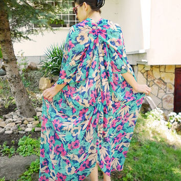 Floral Long Maxi Dress / Oversized Summer Caftan / Multicolored Plus size Evening Dress / Loose Casual Summer Beach Dress by moShic D007