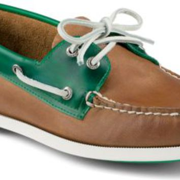 Sperry Top-Sider Authentic Original Seaglass 2-Eye Boat Shoe DarkTan/Green, Size 9M  Men's Shoes