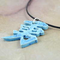 Japanese Symbol for Courage Necklace - Handmade Ceramic Necklace - Zen Jewelry