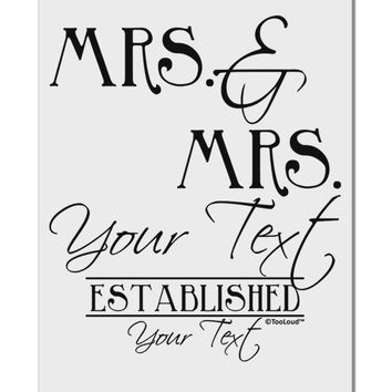 "Personalized Mrs and Mrs Lesbian Wedding - Name- Established -Date- Design Aluminum 8 x 12"" Sign"