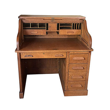 Small Roll Top Desk, Antique Solid Wood Ladies Office Decor, Edwardian Furniture