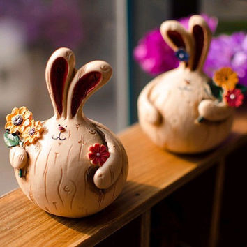 Pastoral Style Lovely Rabbit Resin Decoration Home Decor [6281749766]