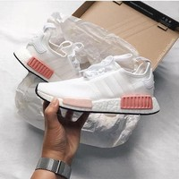 """""""Adidas"""" NMD Fashion Sneakers Trending Running Sports Shoes White-pink"""