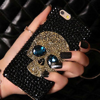 New Diamond Bling Rhinestone Skull With Blue Eye Cover Fashion Pretty Phone Case For iPhone 5 5s 6 6 Plus For Samsung S6 S6Edge