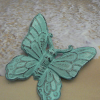 Butterfly Wall Art Cast Iron Beachy Light Cottage Blue Distressed Home Decor Shabby Cottage Chic Rustic Nursery Wall Hanging