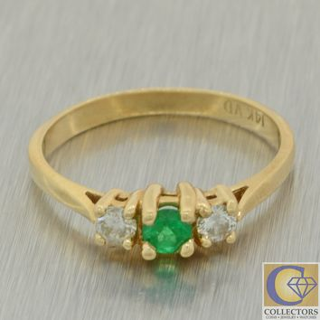 Vintage Estate Solid 14k Yellow Gold .35ctw Emerald Diamond Ring J8