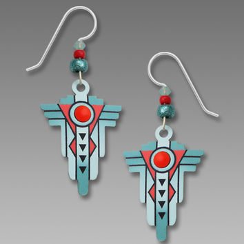 Adajio Earrings - Southwestern Style Teal and Coral Earrings