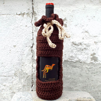 Chocolate Brown Wine Cozy - Crochet Wine Bag - Bottle Gift Bag - Wine Holder