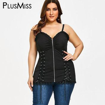 VONE05F8 plusmiss plus size 5xl criss cross zip lace up slip vest top tunic sleeveless tank top   Elegant women clothes big size