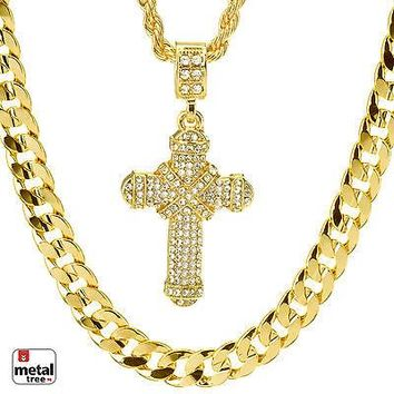 """Jewelry Kay style Men's Iced Out CROSS Pendant 22"""" Rope & 30"""" Concave Cuban Heavy Chain MHC 27 G"""