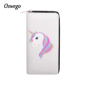 OSWEGO Cartoon Printed Unicorn Women Long Wallet Female Long Clutch Zipper Coin Purse Card Holder Phone Bag Portefeuille femme