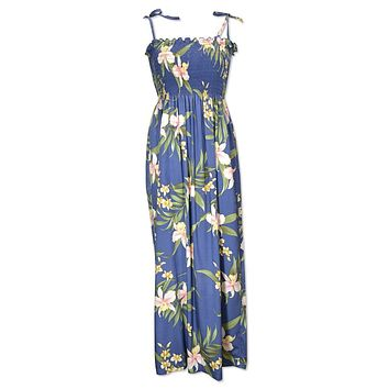 bamboo orchid blue hawaiian maxi dress