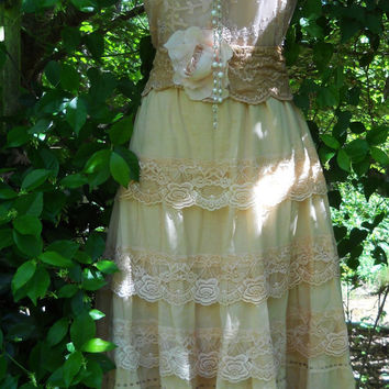 Lace tea dress  cotton wedding  embroidery  tiered   bohemian rose medium  by vintage opulence on Etsy
