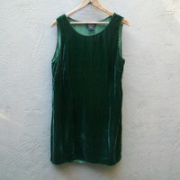 Gorgeous 90's Green Velvet Dress // Tank Dress // Emerald // L