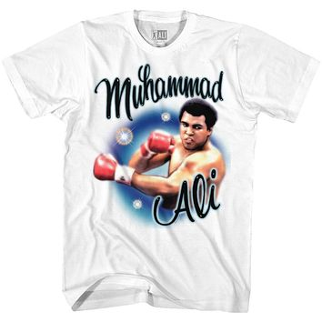 Muhammad Ali Tall T-Shirt Airbrush Punch Portrait White Tee