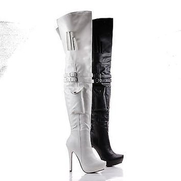 Gilly87 Black Pu by Wild Diva, Thigh High Utility Side Pocket Stiletto Platform Boots