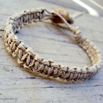 Hemp Bracelet Natural For Men and For Women Made To Order