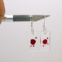 Dexter Blood glass slide earrings with individual blood samples- Halloween jewelry, gothic fashion- Unofficial
