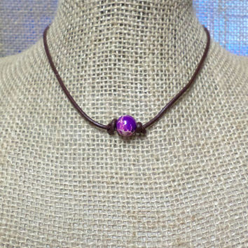 Purple Imperial Jasper Semi-Precious Stone Genuine Leather Cord Choker Necklace Pearl Slip Knot Closure