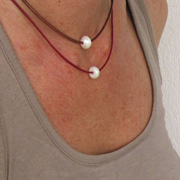 Double Layer Necklace, Single Pearl Necklace,  Pearl Bead Necklace, Leather Pearl Pendant, Set Necklace