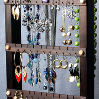 Earring Holder Stand - Jewelry Organizer, Peruvian Walnut, Wood, with Necklace Holder Rack. Chocolate Brown. Holds 40 pairs, 4 pegs.