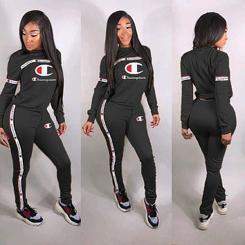 Champion tide brand female letter embroidery solid color ribbon stitching two-piece Black