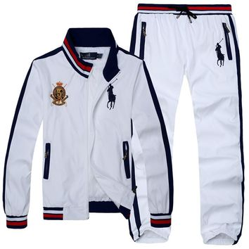 Polo Ralph Lauren new men's casual exquisite embroidery trend outdoor sports jacket set two-piece white