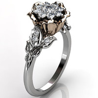 14k two tone white and rose gold diamond unusual unique cluster floral engagement ring, bridal ring, wedding ring ER-1073-5
