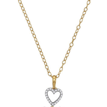 10kt Yellow Gold Womens Round Diamond Triple Nested Heart Pendant Necklace 1/3 Cttw 116320