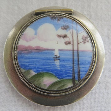 Antique Sterling Compact, Hand Painted Sailboat Scene, Vintage Vanity Compact Silver Nautical Compact Nautical Collectibles