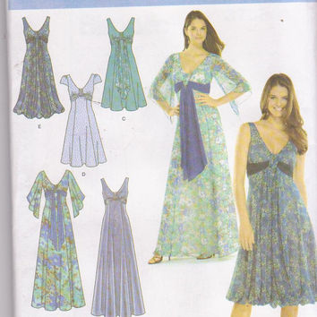 Special occasion or prom dress pattern with Juilet sleeves empire waist deep V neckline misses size 8 10 12 14 16 Simplicity 3785 UNCUT