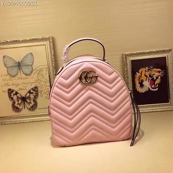 GUCCI GG Marmont M476671 Women Leather backpack 2019 New PINK