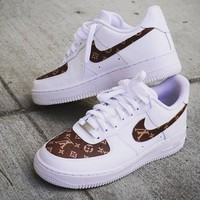LV Louis Vuitton x Nike Air Force 1 men and women 2018 latest fashion running sports shoes F