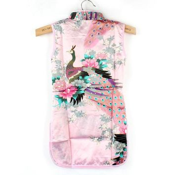 Fashion Chinese Qipao Kids Baby Girl Floral Peacock Cheongsam Dress for 2-8 Years