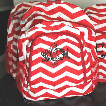 Monogrammed Red Chevron Backpack