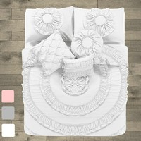 Janikka 10PC Ruffle Comforter Complete Bedding Set
