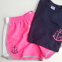 Womens Monogrammed Running Shorts and Shirt by brooklynbelleboutiq