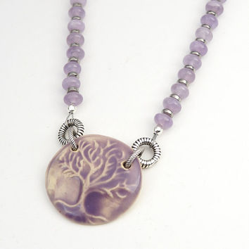 Lavender tree necklace, amethyst beads, silver rings, ceramic,  19 1/2 inches long 49cm