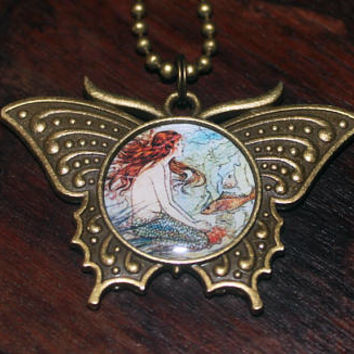Mermaid Necklace, Whimsical Jewelry, Beach Lover, Mythology, Fish, Bronze Butterfly Pendant
