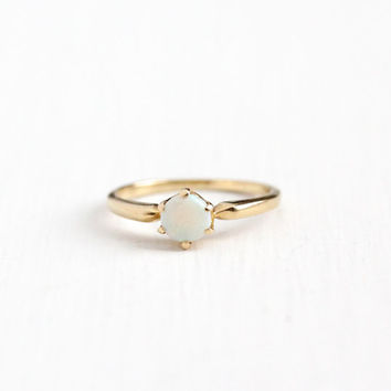 Vintage 14k Rosy Yellow Gold Opal Solitaire Ring - Size 4 3/4 Mid Century 1940s 1950s Retro Gemstone Fine Jewelry