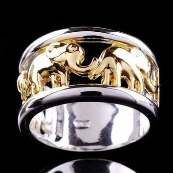 YWOSPX 2018 Bohemian Male Ring Gold and Silver Color Elephant Rings for Men Wedding Anel Engagement Statement Anillos Bijoux