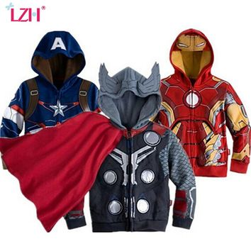 Spring Autumn Boys Jacket For Boys Spiderman Avengers Iron Man Hooded Jacket Kids Warm Outerwear Coat Children Clothes