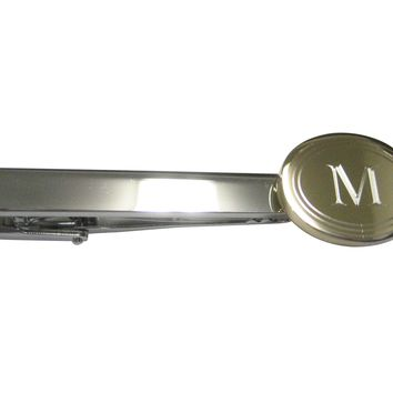 Gold Toned Etched Oval Letter M Monogram Tie Clip