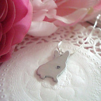 Hand Stamped Necklace With Aluminium French Bulldog Customized Personalized