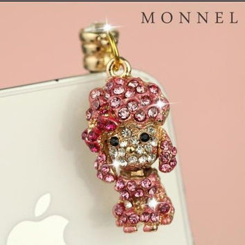 Ip659-C Cute Poodle Dust Proof Phone Plug Cover Charm for Iphone 4 4s Cell Phone