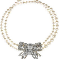 Miu Miu | Glass pearl and plexiglass crystal bow necklace | NET-A-PORTER.COM